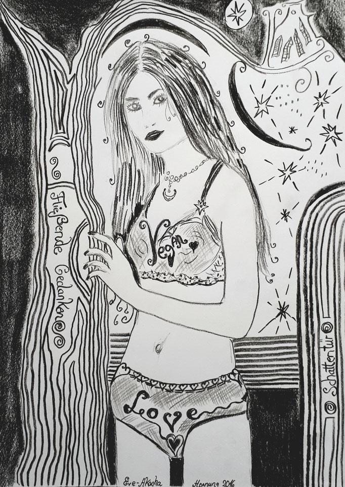 Fließende Gedanken - 29,7 x 21 cm - 2004 - Bleistift auf Papier - digital bearbeitet