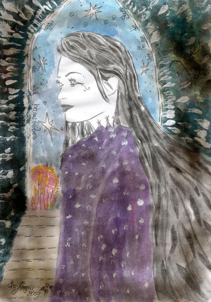 Wenn nur die Sterne endlos in die Welt hinaustreiben - 2009 - Mischtechnik - Malerei auf Papier - Sold Out