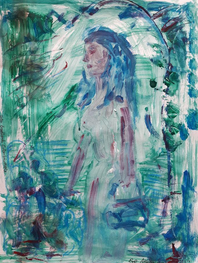 Unter Engellands Eichenbäumen - 47,5 x 36 cm - 2020 - Mischtechnik - Malerei auf Papier