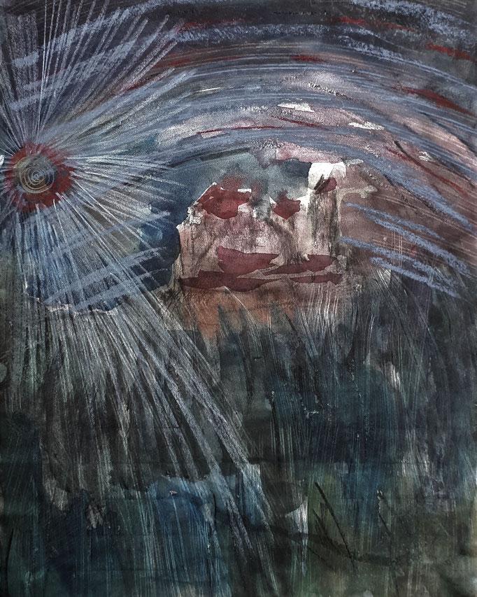Land der Dunkelheit - 30 x 24 cm - 1994 - Mischtechnik - Malerei auf Papier