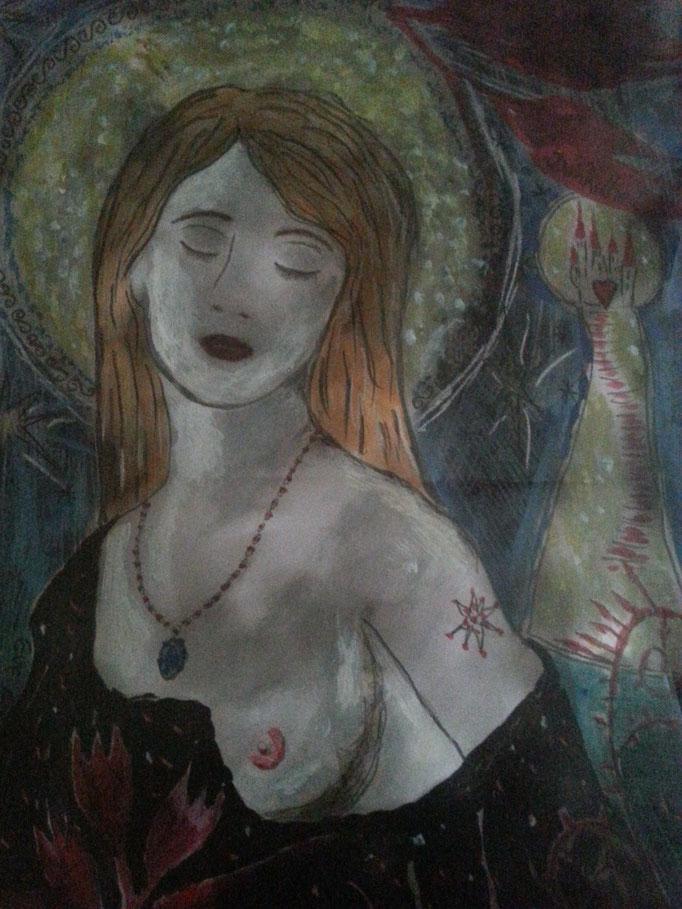 Blume der Dunkelheit - 29,7 x 21 cm - 2017 - Mischtechnik - Malerei auf Papier