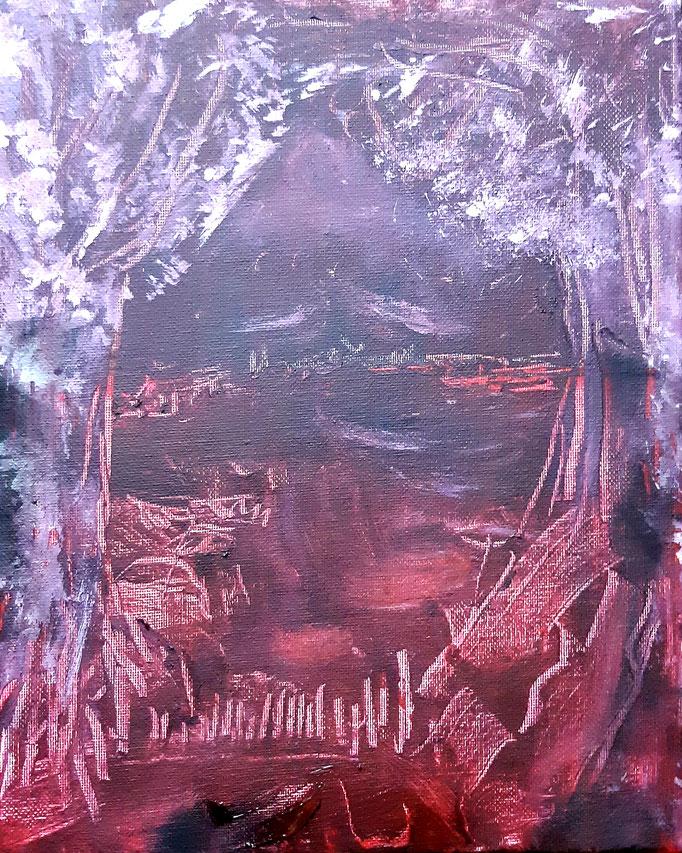 Letztes Geheimnis oder Meine Seele im Fluß der Lavameere - 30 x 24 cm - 2019 - Acryl - Malerei auf Leinwand
