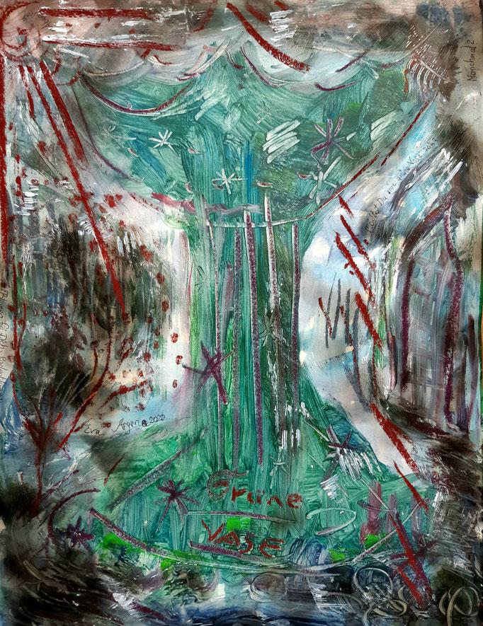 Grüne Vase - 47,5 x 36 cm - 2020 - Mischtechnik - Malerei auf Papier