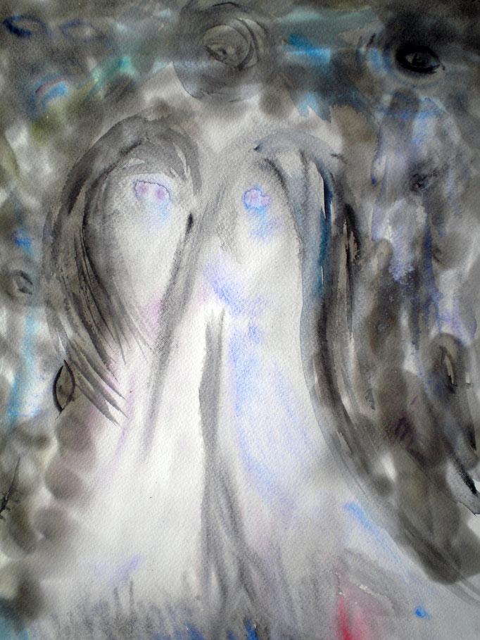 Ophelia und Nekromantia - 40 x 30 cm  - 1992 - Aquarell/Mischtechnik