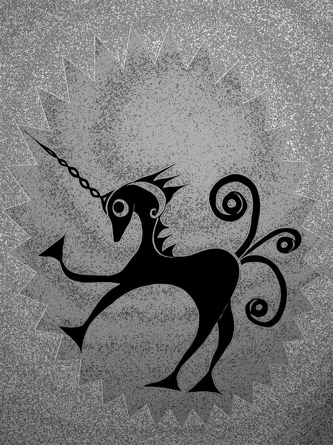 Celtic unicorn - 29,7 x 21 cm cm - 1996 - Tusche auf Papier - digital bearbeitet