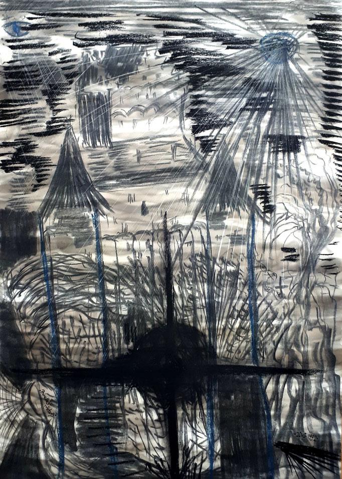 Phinellas Schloss - 59,5 x 42 cm - 1992 - Mischtechnik - Malerei auf Papier