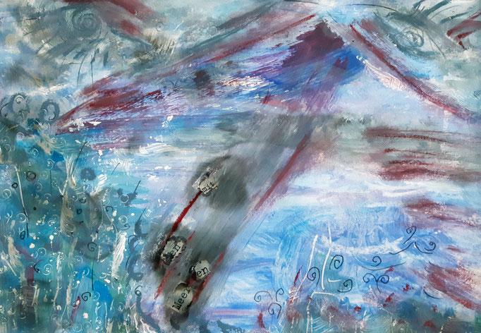 Mit den Meeren - 33 x 23 cm - 2020 - Mischtechnik - Malerei auf Papier