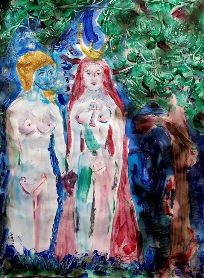 Arianna und Selene - 47,5 x 36 cm - 2020 - Mischtechnik - Malerei auf Papier