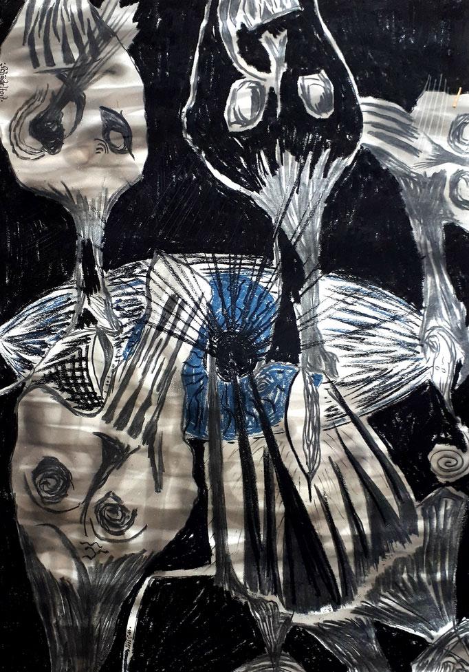 Schädeltod - 59,5 x 42 cm - 1992 - Mischtechnik - Malerei auf Papier