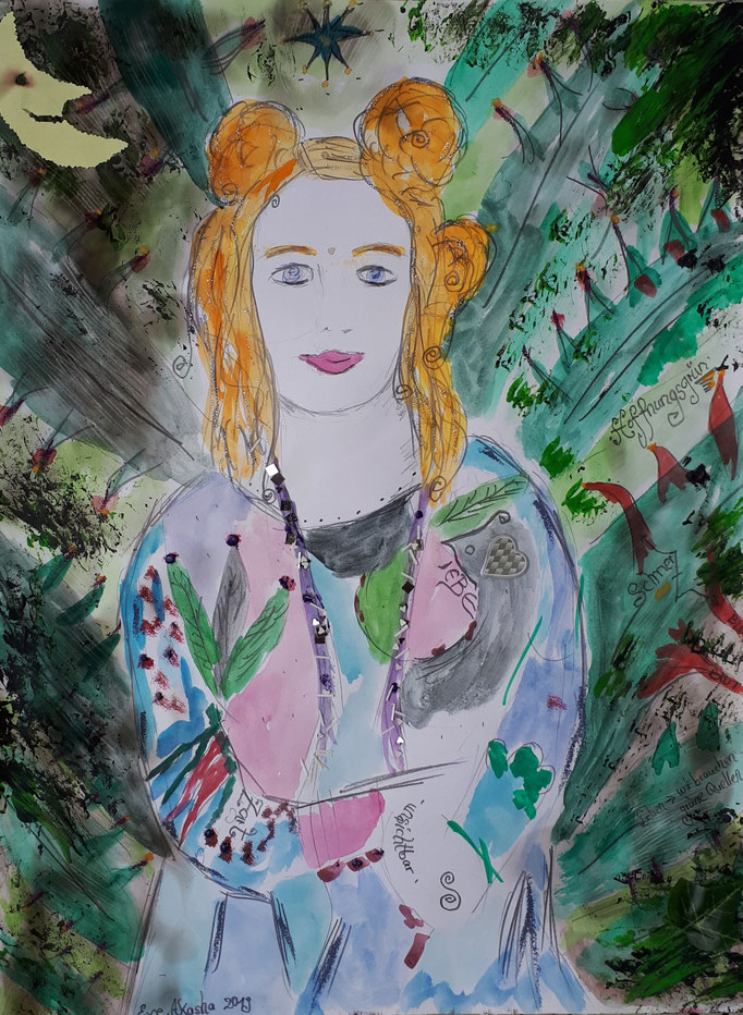 Hoffnungsgrün - 47,5 x 36 cm - 2019 - Mischtechnik - Malerei auf Papier