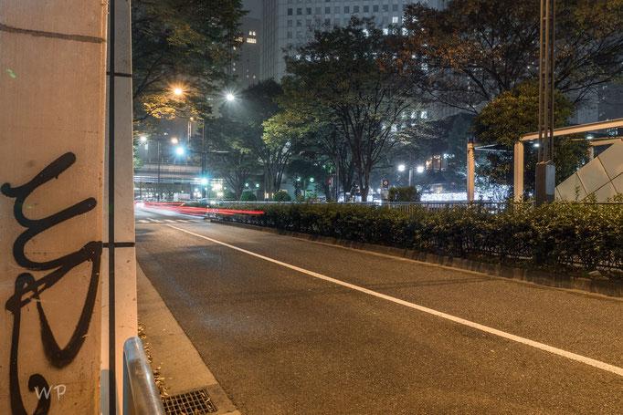 Lichtstreifen durch Langzeitbelichtung der fahrenden Autos wurde geübt