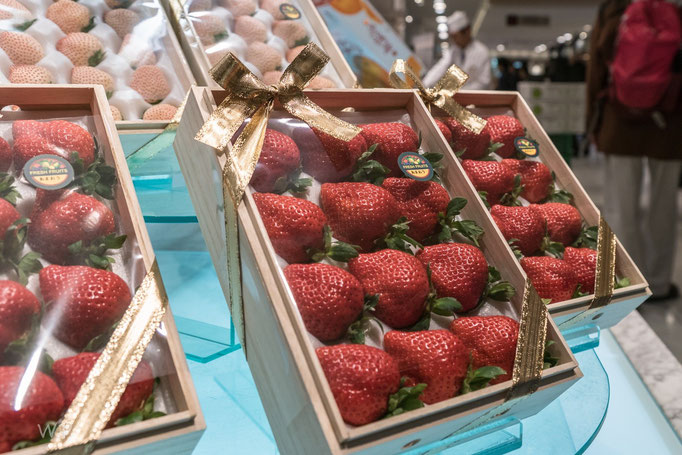Fast wie in der USA. Alle gleich gleich gross und rot. Überhaupt, Erdbeeren, um diese Jahreszeit?
