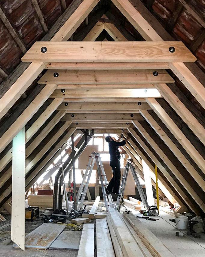 Dachausbau, Umbauarbeiten Dachstuhl