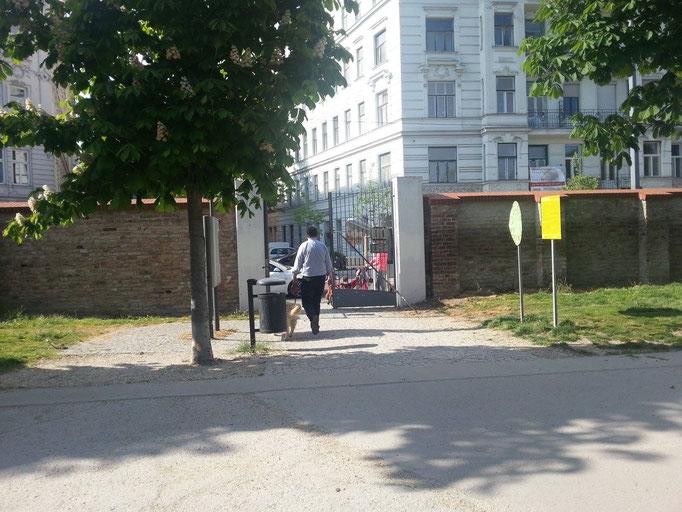 ....Augarten-Eingang und-Ausgang zur Wasnergasse/Karl-Meißl-Straße!