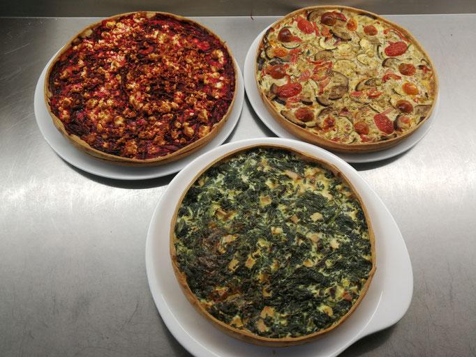 3erlei Quiche   Spinat-Feta   Rote Bete - Süßkartoffel   mediterranes Gemüse