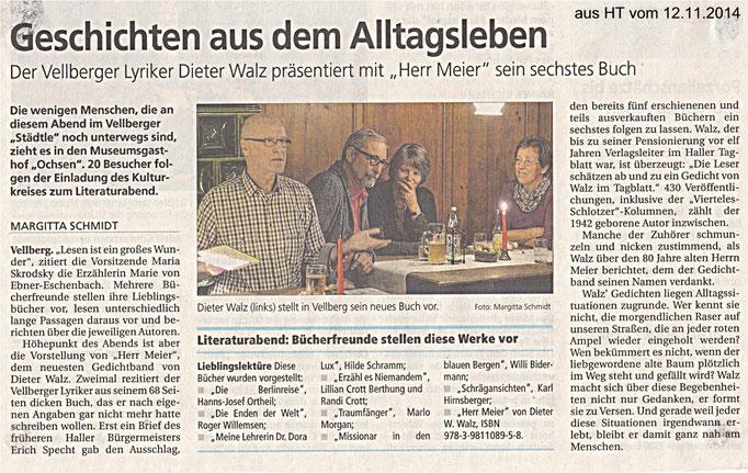 Kulturkreis Vellberg, Lituraturabend im Gasthof zum Ochsen