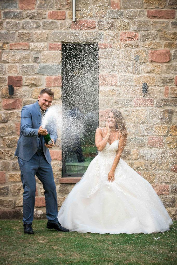Sektdusche Hochzeit Weingut Flick