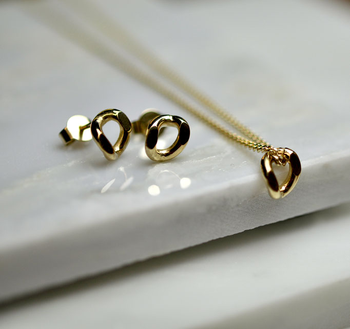 Ohrstecker | Halskette | 925 Silber | 14 k vergoldet | rhodiniert