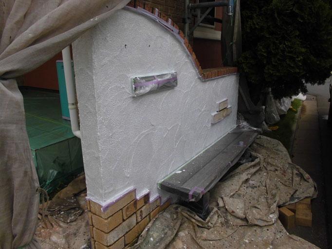 塀/高圧洗浄、下地処理、下塗り、中塗り塗装