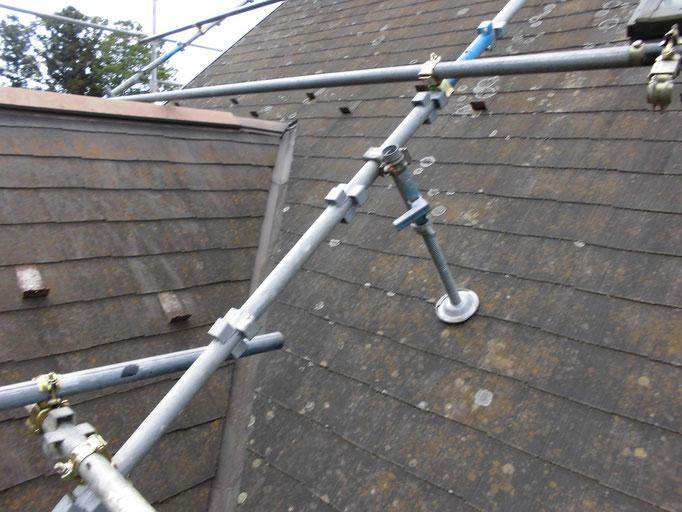 屋根足場設置