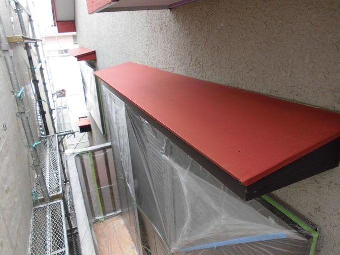 庇上(トタン)/高圧洗浄、ケレン、下地処理、錆止め塗装