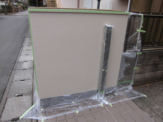 高圧洗浄、下地処理、下塗り塗装、主材中塗り塗装