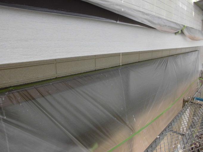 庇木部/高圧洗浄、下地処理、主材中塗り塗装