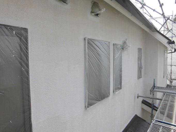 外壁(モルタル)/高圧洗浄、下地処理、養生、下塗り