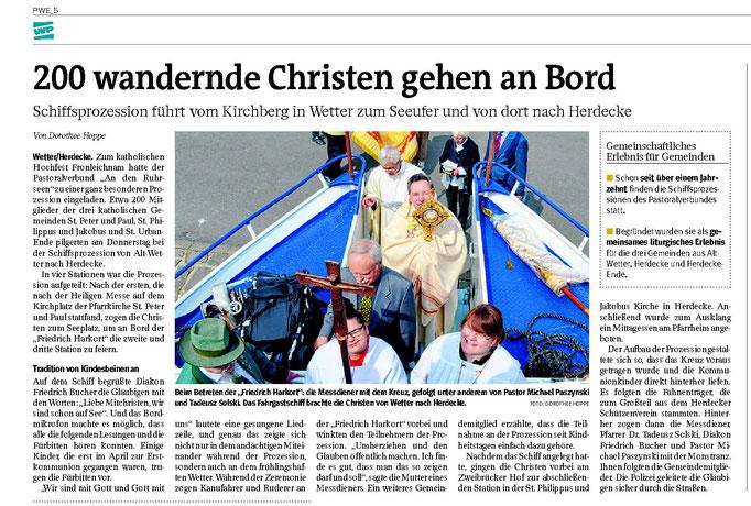 """WP: """"200 wandernde Christen gehen an Bord"""" vom 28. Mai 2016; über die Schiffsprozession zu Fronleichnam; von Dorothee Hoppe"""