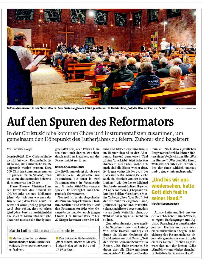 """WP: """"Auf den Spuren des Reformators"""" vom 15. November 2017; über das Reformationskonzert in der Christuskirche; von Dorothee Hoppe"""