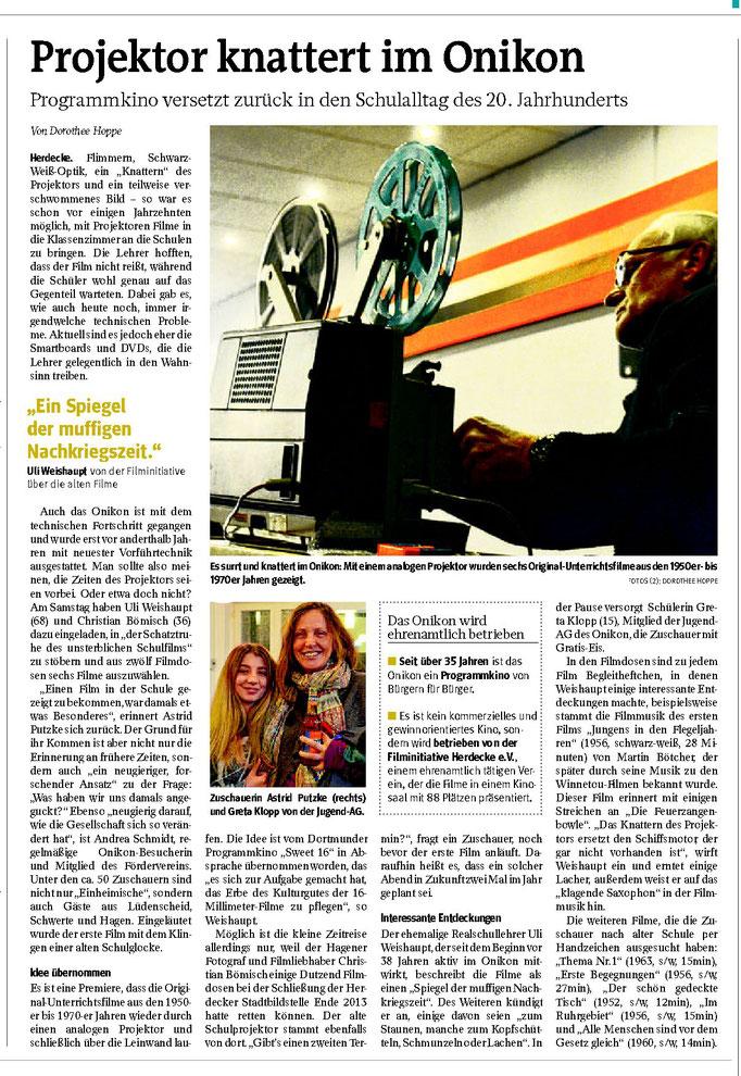 """WP: """"Projektor knattert im Onikon"""" vom 24. Januar 2017; über den Abend """"Aus der Schatztruhe des unsterblichen Schulfilms"""" mit 16mm-FIlmen; von Dorothee Hoppe"""