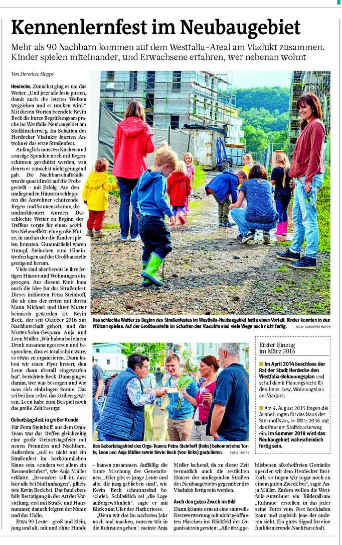 """WP: """"Kennlernfest im Neubaugebiet"""" vom 06. September 2017; über ein Straßenfest zum Kennenlernen; von Dorothee Hoppe"""