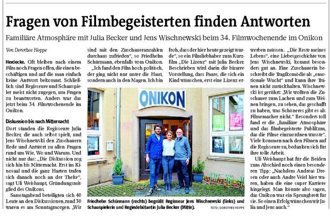 """WP: """"Fragen von Filmbegeisterten finden Antworten"""" vom 01. Dezember 2017; Rückblick auf das Filmwochenende im Onikon; von Dorothee Hoppe"""