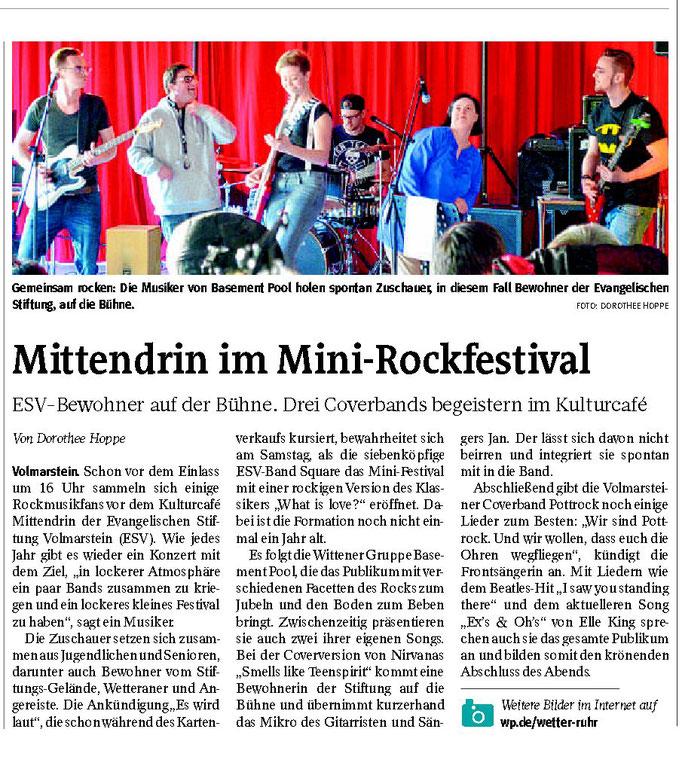 """WP: """"Mittendrin im Mini-Rockfestival"""" vom 27. März 2017; über drei Coverbands, die auf dem Gelände der Evangelischen Stiftung Volmarstein auftreten; von Dorothee Hoppe"""