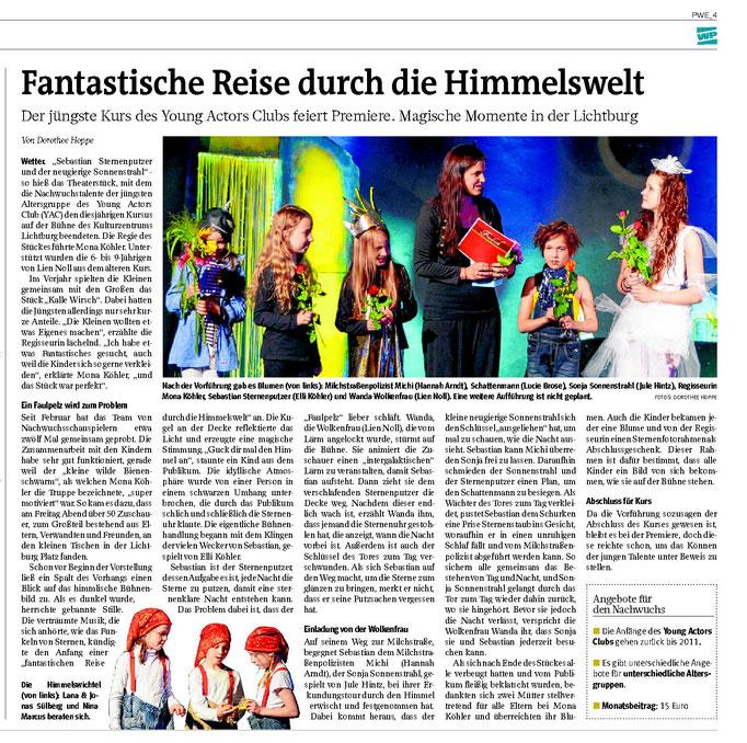 """WP: """"Fantastische Reise durch die Himmelswelt"""" vom 21. Juni 2016; über das Theaterstück """"Sebastian Sternenputzer und der neugierige Sonnenstrahl""""; von Dorothee Hoppe"""