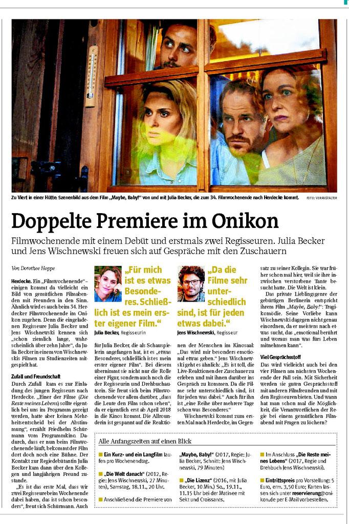 """WP: """"Doppelte Premiere im Onikon"""" vom 11. November 2017; Ankündigung des Filmwochenendes mit zwei Regisseuren; von Dorothee Hoppe"""