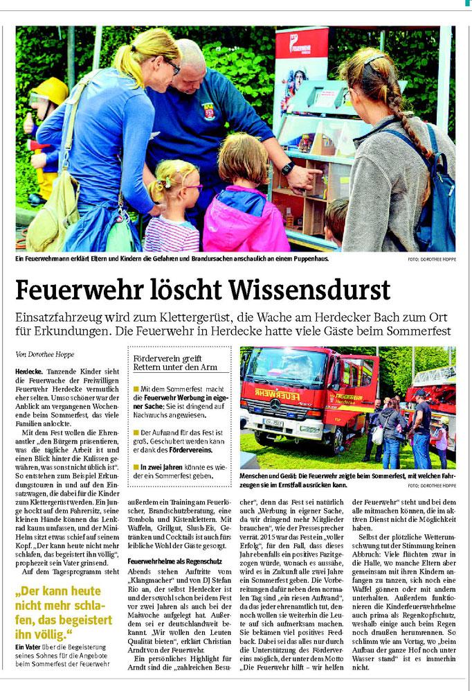 """WP: """"Feuerwehr löscht Wissensdurst"""" vom 04. September 2017; über das Herdecker Feuerwehrfest; von Dorothee Hoppe"""