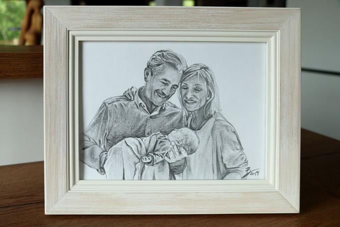 """Portrait """"Stolze Großeltern"""" - DIN A4 - Graphitstift auf Papier"""