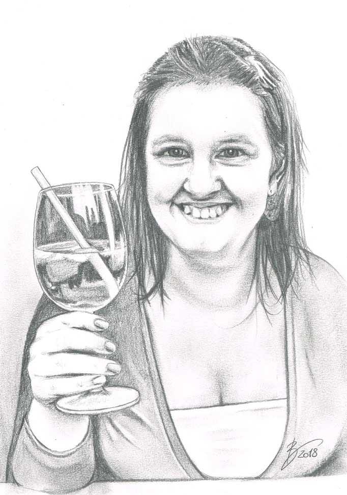 "Portrait ""Mona"" - 19x24cm - Graphitstift auf Papier"