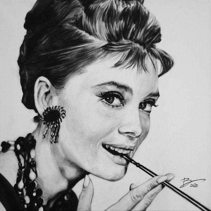 Audrey Hepburn - 50x50cm - Acryl auf Leinwand