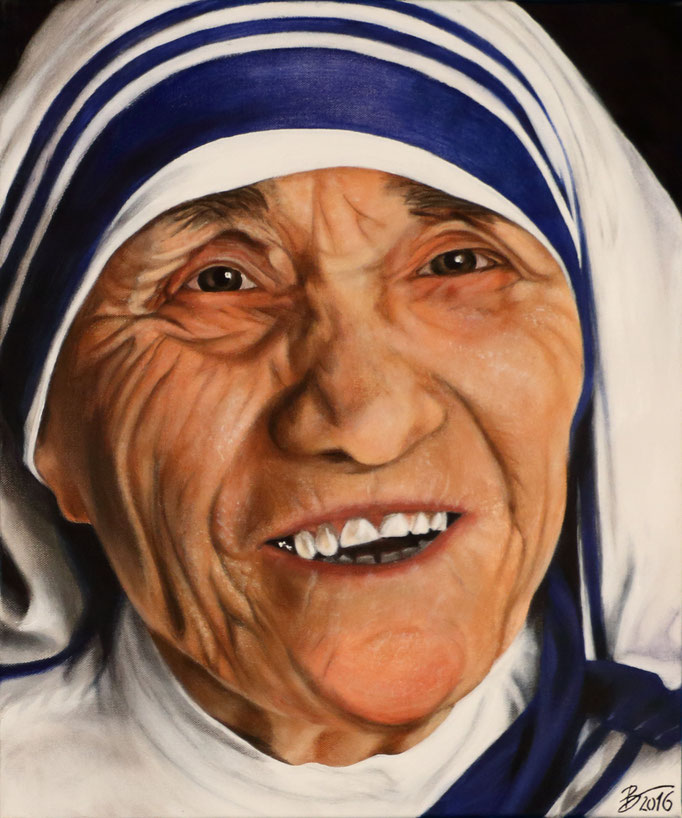 Mutter Teresa - 50x60cm - Acryl auf Leinwand