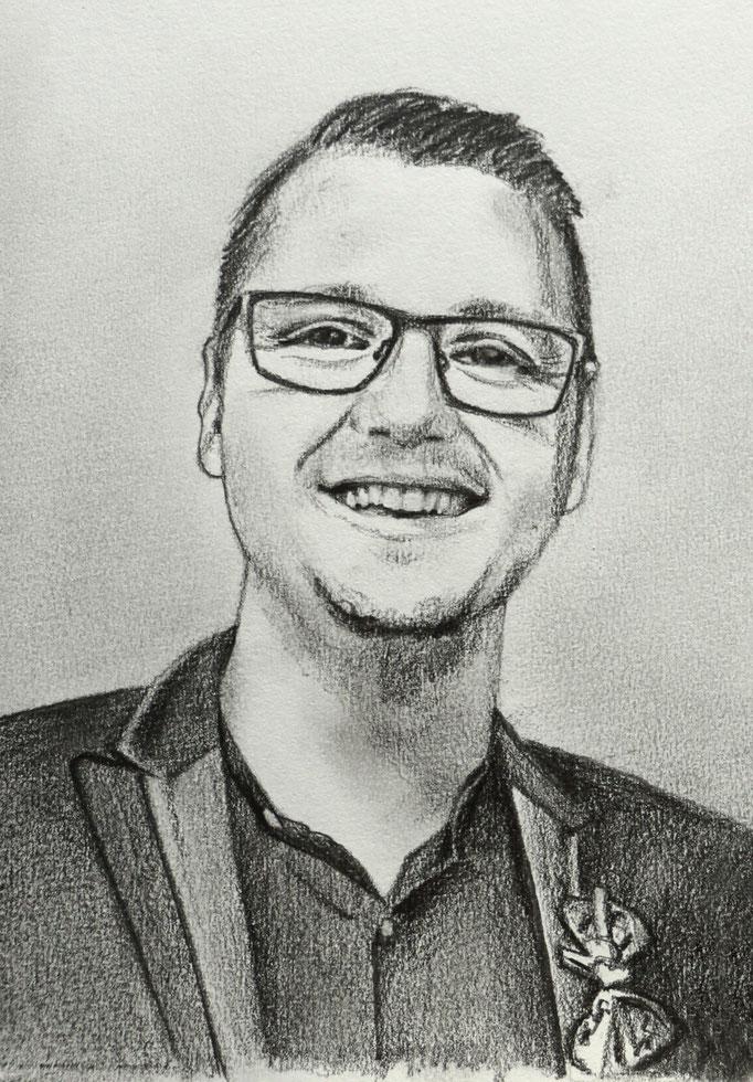 """Portrait """"Andreas"""" - 14x18cm - Graphitstift auf Papier"""