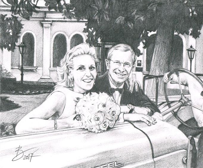 """Familie Haslauer """"Christina & Wilfried"""" - Bildausschnitt aus 18x28cm - Graphitstift auf Papier"""