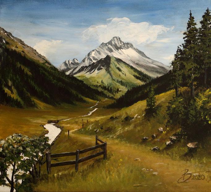 Landschaft für Krippe - 30x32cm - Acryl auf Holz