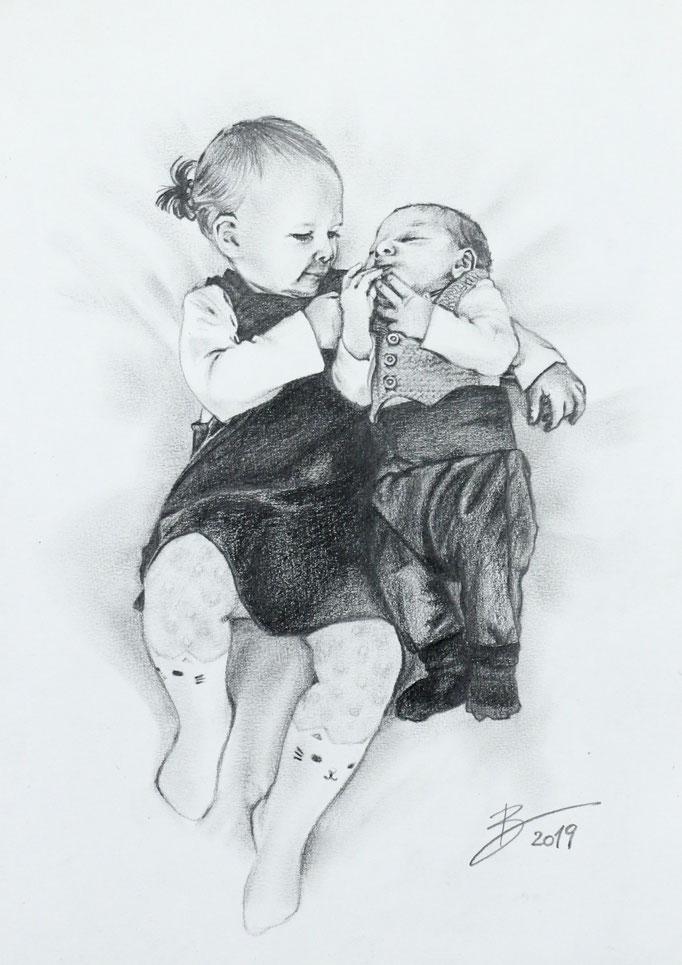 """Portrait """"Kinder"""" - DIN A4 - Graphitstift auf Papier"""