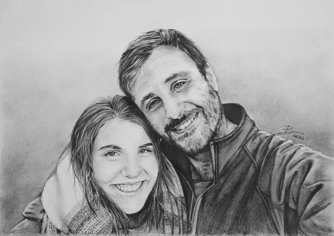 "Portrait ""Jessika & Harald"" - DIN A3 - Graphitstift auf Papier"
