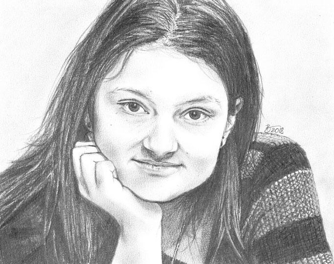 """Portrait """"Sabrina"""" - 19x24cm - Graphitstift auf Papier"""