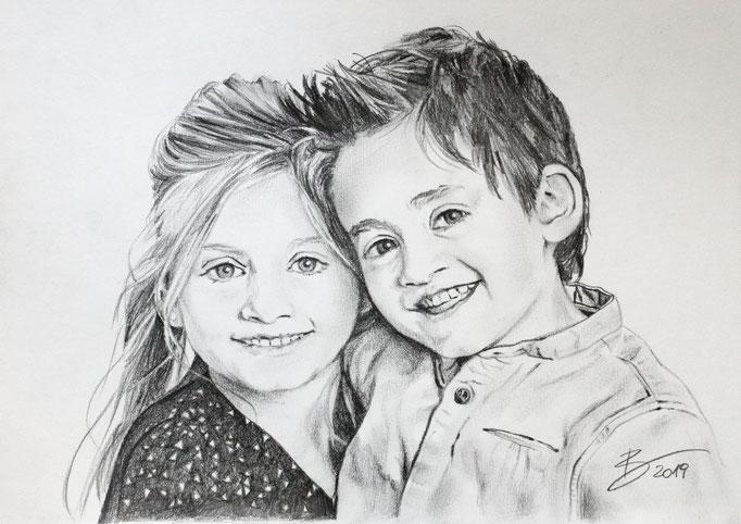 "Portrait ""Mariella & Dominik"" - DIN A4 - Graphitstift auf Papier"