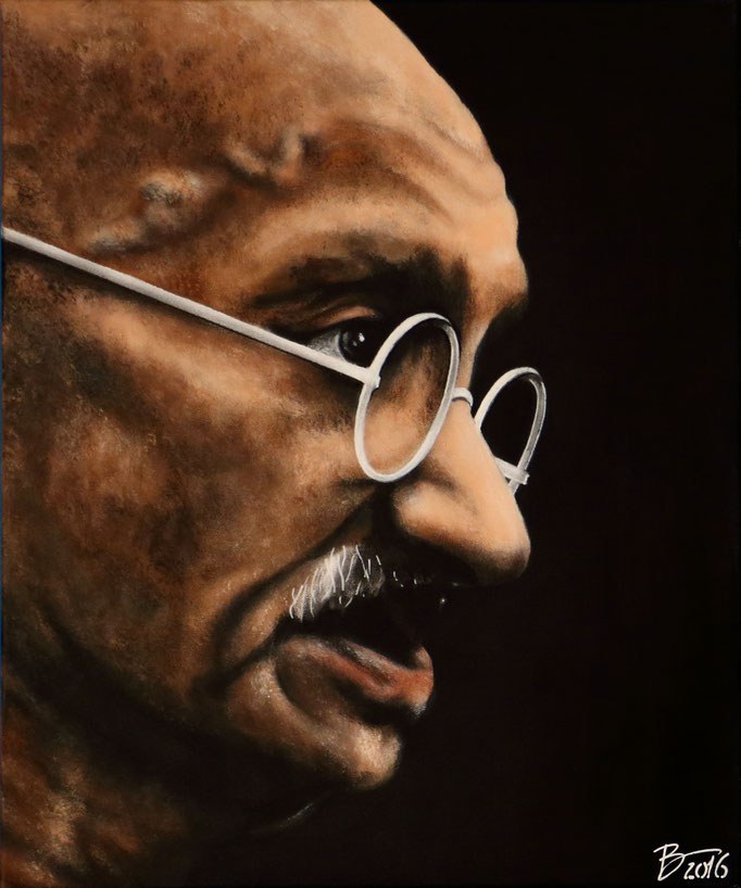 Mahatma Gandhi - 50x60cm - Acryl auf Leinwand