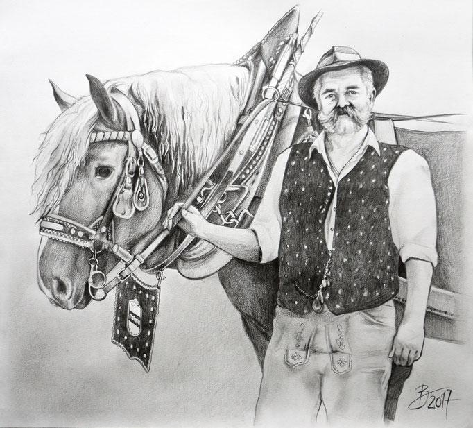Mann mit Pferd - 38x42cm - Graphitstift auf Papier